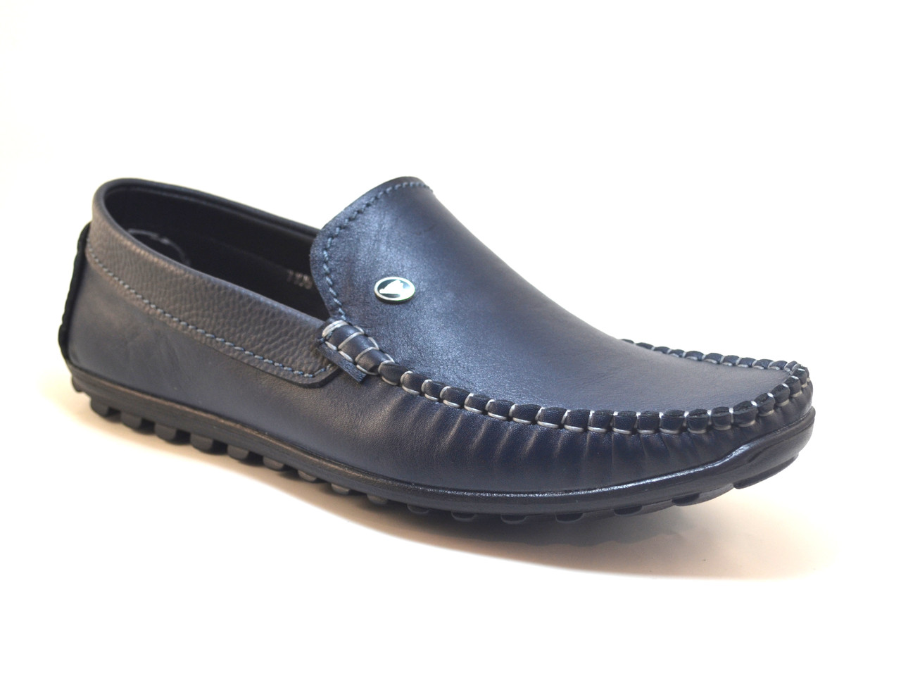 Мокасины мужские кожаные синие стильные весенняя обувь Rosso Avangard M4