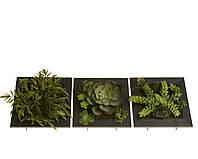 Искусственные цветы в деревянной рамке 15x6x15cm