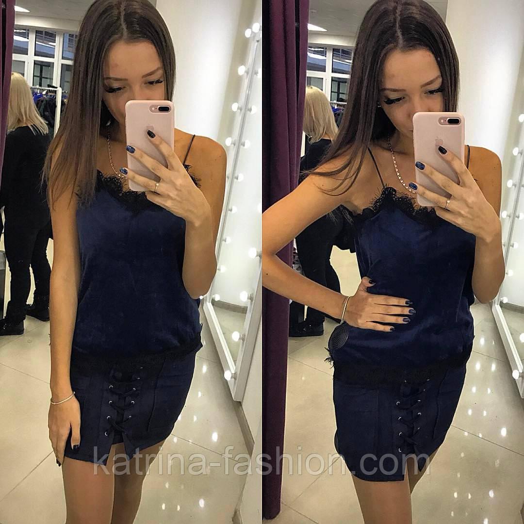 Женская красивая замшевая юбка шнуровка (6 цветов)