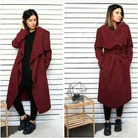 Пальто женское кашемировое стильное 171-9 бордовое,верхняя одежда женская