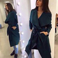Пальто женское кашемировое стильное 171-9 бутылочный,верхняя одежда женская