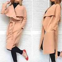 Пальто женское кашемировое стильное 171-9 бежевое,верхняя одежда женская