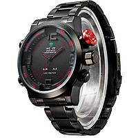 Мужские часы WEIDE Sport Watch BlackRed, кварцевые, ВЕЙДЕ стальные красная кнопка