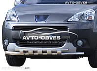 Защитная дуга переднего бампера Citroen Berlingo 2008-2017 двойной ус с грилем