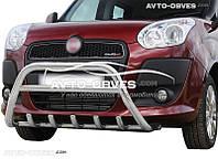 Защитный обвес переднего бампера на Fiat Doblo 2010-2014