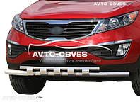 Защитная дуга переднего бампера Kia Sportage III 2010-2016 двойной ус с грилем