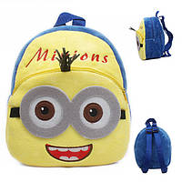 Детский плюшевый рюкзак для дошкольника Миньон. Мягкий рюкзачок в садик Minion