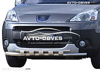 Защитная дуга переднего бампера Peugeot Partner 2008 - 2015 двойной ус с грилем
