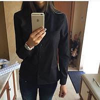 Женская однотонная рубашка  на пуговицах с длинными рукавами