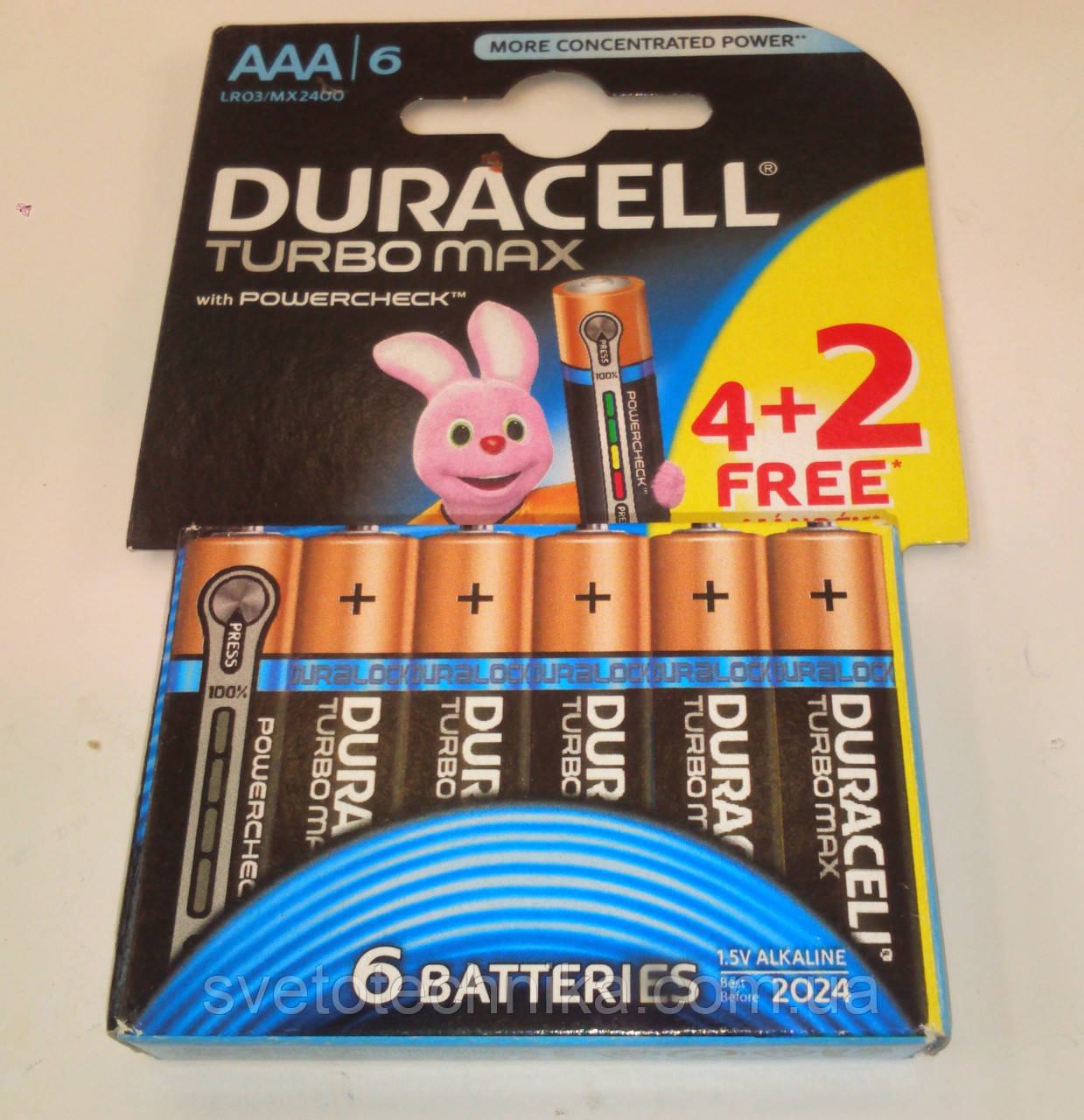 Батарейка щелочная (6шт.) Duracell Turbo R3 UM6 AAA 1.5V на блистере