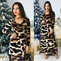 Женское бархатное леопардовое платье 8846