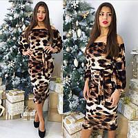 Женское леопардовое платье миди 8855