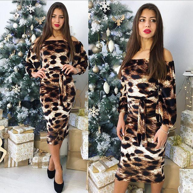 Леопардовое платье женское