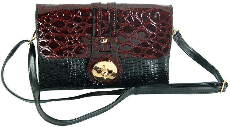 Женский клатч из экокожи Traum 7212-42, черный с бордовым