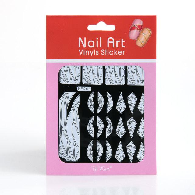 Трафарет зигзаг-наклейки для дизайна ногтей белые,12 шт,рисунки в ассортименте
