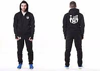 Спортивный костюм Барселона, Barcelona, Nike, Найк, черный, с капюшоном, большое лого, ф4794