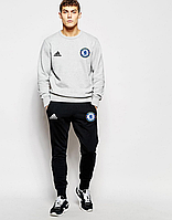 Спортивный костюм Adidas-Chelsea, Челси, Адидас, серый свитшот, черные штаны, ф4820