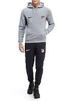 Спортивный костюм Атлетико, Atletico, Nike, Найк, с капюшоном, серо-черный, ф4825