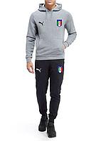Спортивный костюм сборной Италии, Italy, Пума, Puma, с капюшоном, серо-черный, ф4833