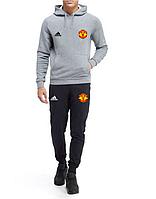 Спортивный костюм Манчестер Юнайтед, MU, Nike, Найк, с капюшоном, серо-черный, ф4836