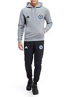 Спортивный костюм Adidas-Chelsea, Челси, Адидас, с капюшоном, серо-черный, ф4845