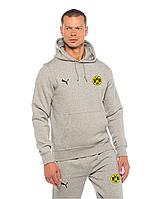 Спортивный костюм Боруссия, Borussia, Puma, Пума, серый, с капюшоном, ф4881
