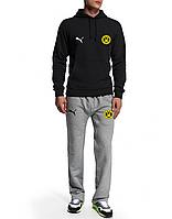 Спортивный костюм Боруссия, Borussia, Puma, Пума, черная кофта, серые штаны, ф4935