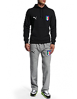 Спортивный костюм сборной Италии, Italy, Puma, Пума, черная кофта, серые штаны, ф4941