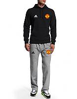 Спортивный костюм Манчестер Юнайтед, MU, Adidas, Адидас, черная кофта, серые штаны, ф4944