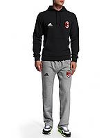 Спортивный костюм Милан, Milan, Adidas, Адидас, черная кофта, серые штаны, ф4945