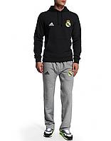Спортивный костюм Реал Мадрид, Real Madrid, Adidas, Адидас, черная кофта, серые штаны, ф4948