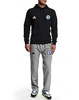 Спортивный костюм Adidas-Chelsea, Челси, Адидас, черная кофта, серые штаны, ф4953
