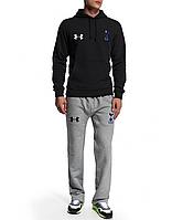 Спортивный костюм Тотенхем, Андер Армор, черная кофта, серые штаны, ф4950