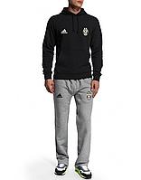 Спортивный костюм Ювентус, Juventus, Adidas, Адидас, черная кофта, серые штаны, ф49255