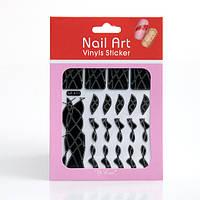 Трафарет зигзаг-наклейки для дизайна ногтей черные,12 шт. в ассортименте , фото 1