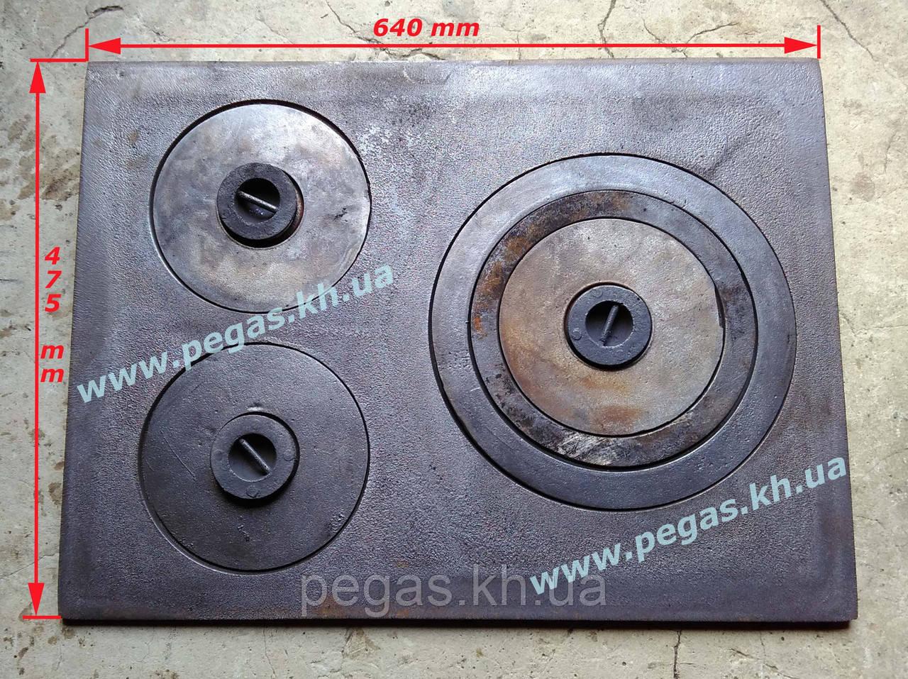 Плита чугунная на три конфорки 475х640мм.