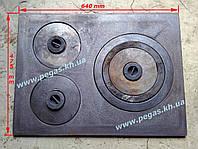 Плита чугунная на три конфорки 475х640мм., фото 1