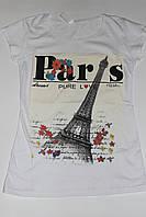 Футболка женская Париж белая Размер S