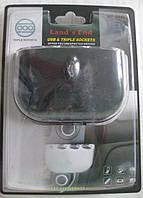 Разветвитель на 3 прикуривателя + USB выход (5 V 1 A) WF-0032 A