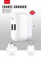 YB-708 2 USB Travel charger (2,1A) EU+US, Yoobao
