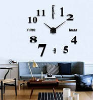 3D-Часы настенные большие с надписями (диаметр 0,8 м) черные [Пластик]