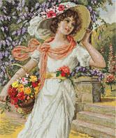 """Набор для вышивки крестом """"Panna"""" Девушка с корзиной цветов  ВХ-1480"""