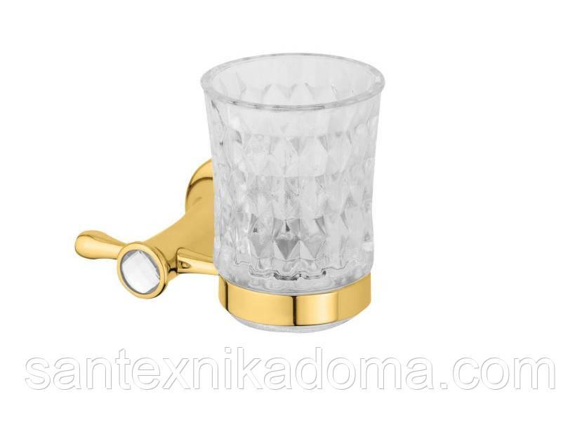 Стакан для зубных щеток золото, кристаллы