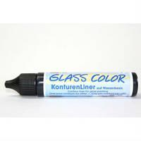Контурная краска по стеклу Glass Color (обжиг), 29 мл черный