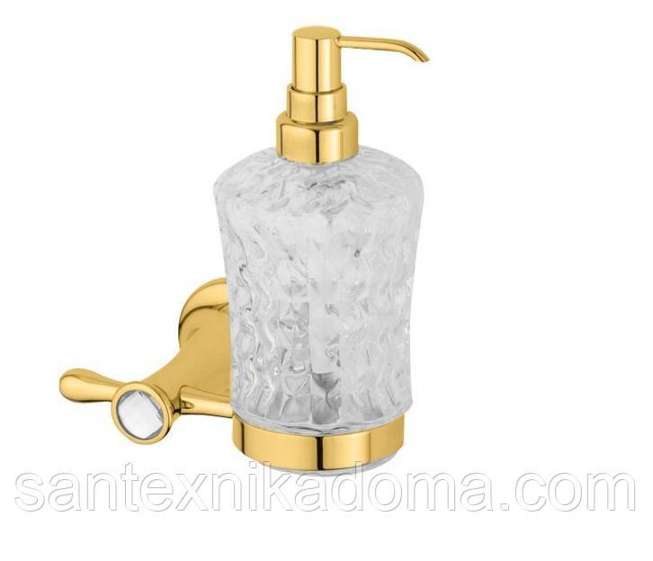 Дозатор для жидкого мыла, золото, кристаллы