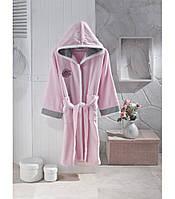 Махровый розовый халат для девочки подростка