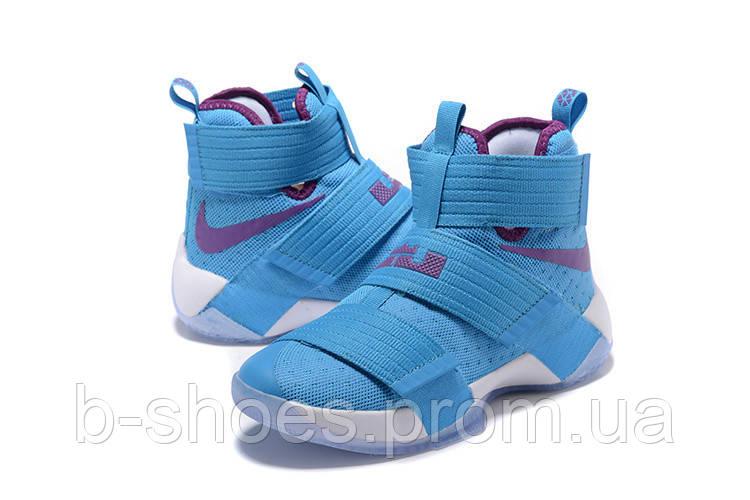 Детские баскетбольные кроссовки Nike LeBron Zoom Soldier 10 (University Blue)