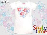 Платье трикотажное летнее для девочки SmileTime Flower Heart, белое