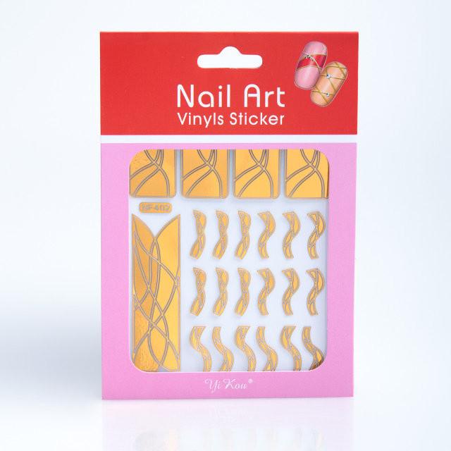 Трафарет-наклейка зигзаг для дизайна ногтей золото,12 шт,рисунки в ассортименте