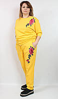 Стильный турецкий костюм 52 -62 большого размера, желтый